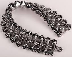 bracelet skull images 2018 men stainless steel skull bracelet 316l cuff chain heavy jpg