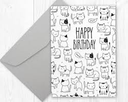 cat birthday card etsy