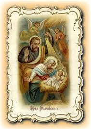 center greeting card with the holy family