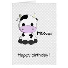 cow greeting cards happy birthday kawaii girl greeting cards zazzle
