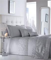 Double Duvet Set Double Duvet Set New Silver Grey Sequin U0026 Diamante Luxury Quilt