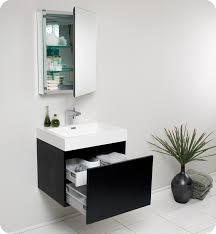 Bathroom Vanity Medicine Cabinet by 23 5 U201d Fresca Nano Fvn8006bw Black Modern Bathroom Vanity W