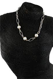 black pearl chain necklace images David yurman 18k gold 925 silver white pearls chain link toggle jpg