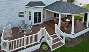 Covered Porch Design Trex Deck With Hip Roof And Grill Bump Out Amazing Decks