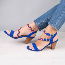 heeled sandals bleu aztek la flamboyante bobbies
