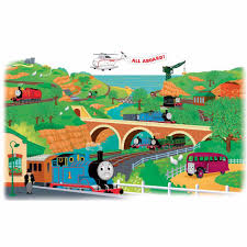 Thomas The Tank Room Decor by Thomas The Train Peel And Stick Wall Decals What Shade Of Blue Is
