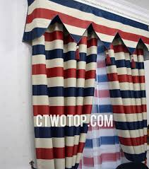 Blue Curtain Valance Striped White Red And Blue Color Poly Flocking Country Curtains
