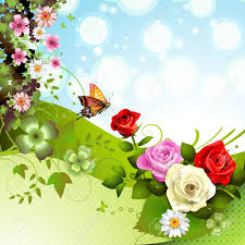 background with roses and butterflies royalty free cliparts