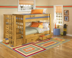 Kids Bunk Beds With Storage Varnished Wooden Oak Bunk Bed With - Wooden bunk beds with drawers
