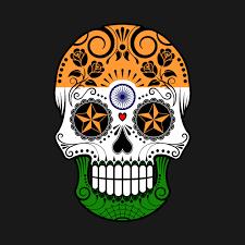 indian flag sugar skull with roses india t shirt teepublic