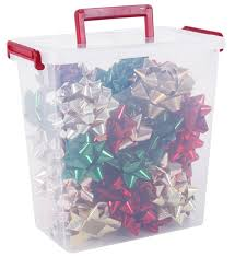 plastic storage container bows in gift wrap organizers