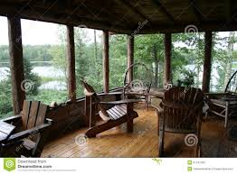 rustic cabin porch with lake view stock photo image 51241509