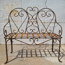 Vintage Metal Patio Furniture For Sale - wrought iron double heart bench patio furniture
