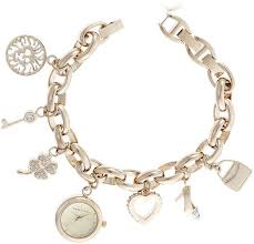 anne klein charm bracelet watches images Anne klein women 39 s 10 7604chrm swarovski crystal gold tone charm jpg