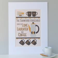personalised coffee lovers family print
