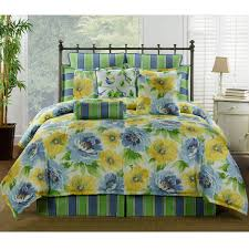 Green And Yellow Comforter Delectably Yours Com Gia Blue U0026 Yellow Floral Bedding Collection