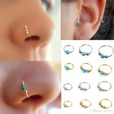 nose jewelry rings images Fashion retro round beads nose ring nostril hoop body piercing jpg