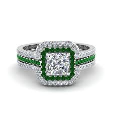 square cut engagement ring cushion cut square halo engagement ring guard with emerald