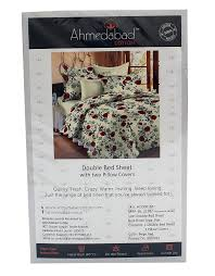 buy ahmedabad cotton floral 136 tc cotton double bedsheet with 2