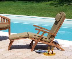 sedia sdraio giardino poltrona sdraio da giardino aggie in legno teak con cuscino