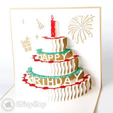 birthday cake with candles 3d pop up birthday greeting card