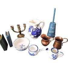 miniature vintage doll house accessories flow blue copper pitchers