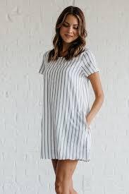 prim and proper navy striped dress bella ella boutique online store