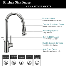 avola solid brass sink kitchen faucet brushed nickel 1 lever