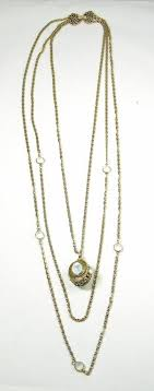 vintage necklace chains images Long vintage goldette ny multi chain faux moonstone pendant jpg