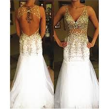 white wedding dress with gold beading white prom dresses gold beaded evening dress backlss prom dresses