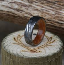damascus steel wedding band damascus steel wedding band with whiskey barrel lining available