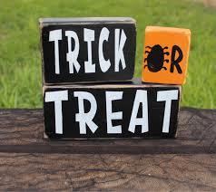 trick or treat halloween decor wood halloween blocks fall