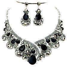 black rhinestone necklace images Black and rhinestone necklace jpg