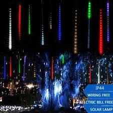 christmas tree solar lights outdoors outdoor led solar meteor shower strip light waterproof twinkling
