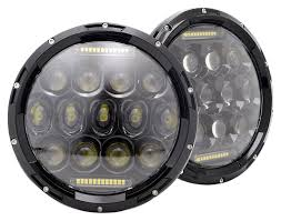amazon com turbo sii pair 7 inch round black led headlights with