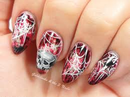 goldilocks u0026 the three nails skull u0026 spider web nail art
