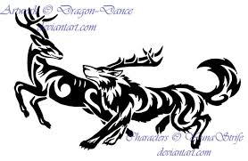 tribal running wolf and deer commission by dansudragon on deviantart