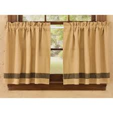Cafe Tier Curtains Burlap Black Tan Check Cotton Unlined Cafe Tier Curtains 72x24