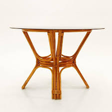 bamboo dining room table italian vintage bamboo table with glass top 1970s at 1stdibs
