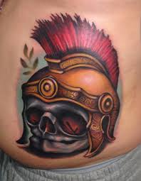 fetal skull roman helmet soldier best colorful bright tattoo