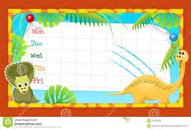 timetable dinosaur stock vector image 56387862