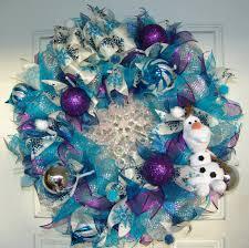 frozen olaf christmas winter deco mesh door wreath snowflake by