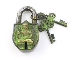 temple lock u0026 key set solid brass antique alter ornament