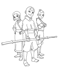 picture avatar air bender main characters coloring