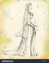 bride wedding dress candle hand stock illustration 64674121