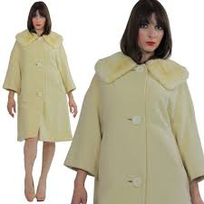 wool cashmere coat swing blonde mink swing coat fur collar vintage