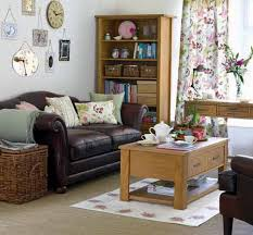 show home decorating ideas apartments small living room design with comfy brown vinyl sofa