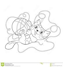 coloring page outline of a fluffy kitten playing with ball of ya