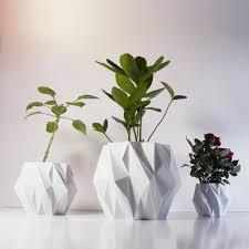 futuristic modern garden pots for indoor with diamond shape