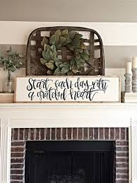 Reclaimed Wood Home Decor Grateful Heart Start Each Day Inspirational Sign Reclaimed